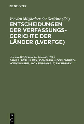Von den Mitgliedern der Gerichte | Berlin, Brandenburg, Mecklenburg-Vorpommern, Sachsen-Anhalt, Thüringen | Buch