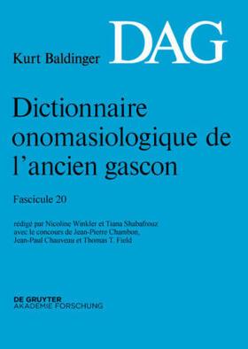Dictionnaire onomasiologique de l'ancien gascon (DAG). Fascicule 20