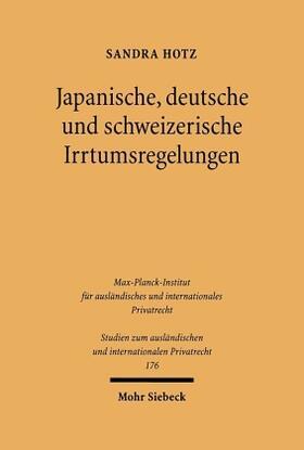 Hotz   Japanische, deutsche und schweizerische Irrtumsregelungen   Buch