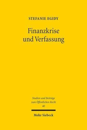 Egidy | Finanzkrise und Verfassung | Buch