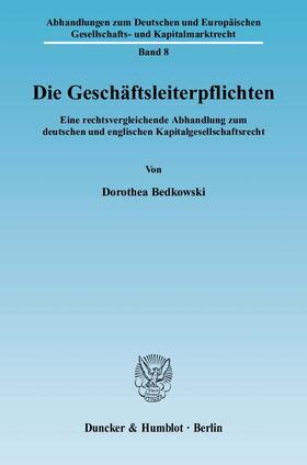 Bedkowski | Die Geschäftsleiterpflichten. | Buch