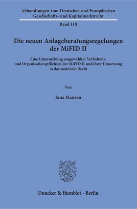 Mansen   Die neuen Anlageberatungsregelungen der MiFID II   Buch