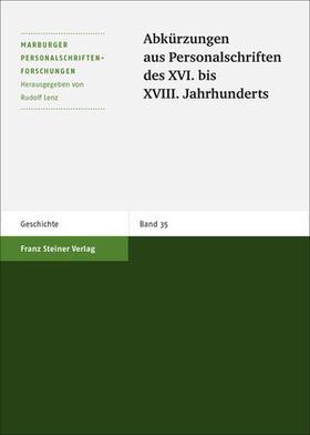 Abkürzungen aus Personalschriften des XVI. bis XVIII. Jahrhunderts | Buch