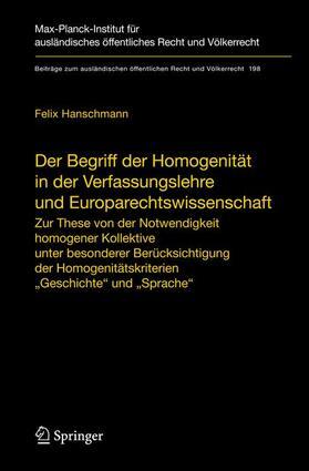 Hanschmann | Der Begriff der Homogenität in der Verfassungslehre und Europarechtswissenschaft | Buch