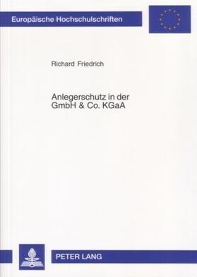 Friedrich | Anlegerschutz in der GmbH & Co. KGaA | Buch