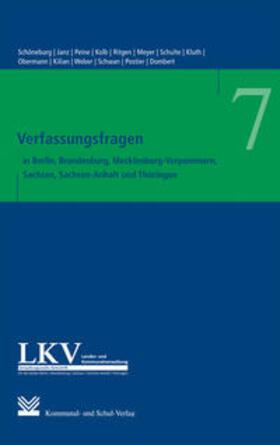 Schöneburg/Janz/Peine | Verfassungsfragen in den Ländern Berlin, Brandenburg, Mecklenburg-Vorpommern, Sachsen, Sachsen-Anhalt und Thüringen | Buch