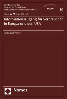 Micklitz   Informationszugang für Verbraucher in Europa und den USA   Buch