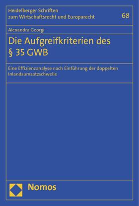 Georgi | Die Aufgreifkriterien des § 35 GWB | Buch