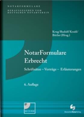 Krug / Rudolf / Kroiß   NotarFormulare Erbrecht   Buch