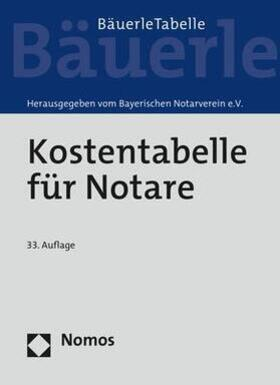 Bayerischen Notarverein e.V.   Kostentabelle für Notare - Mängelexemplar, kann leichte Gebrauchsspuren aufweisen. Sonderangebot ohne Rückgaberecht. Nur so lange der Vorrat reicht.   Buch   sack.de