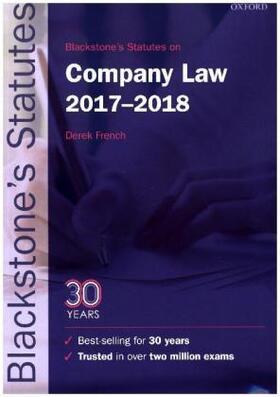 Blackstone's Statutes on Company Law 2017-2018   Buch   sack.de