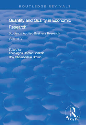 Bonitsis / Brown | Quantity and Quality in Economic Research | Buch | sack.de