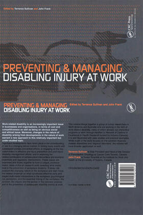 Sullivan / Frank | Preventing and Managing Disabling Injury at Work | Buch | sack.de