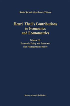 Koerts / Raj   Henri Theil's Contributions to Economics and Econometrics   Buch   sack.de