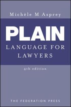 Asprey | Plain Language for Lawyers | Buch | sack.de