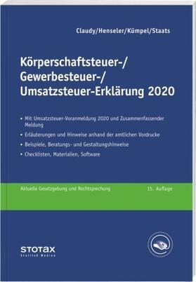 Claudy / Henseler / Kümpel | Körperschaftsteuer-, Gewerbesteuer-, Umsatzsteuer-Erklärung 2020 | Buch | sack.de