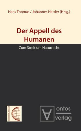 Thomas / Hattler   Der Appell des Humanen   Buch   sack.de