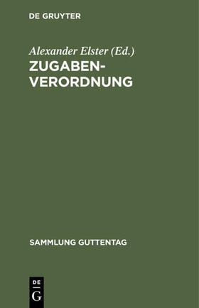Elster | Zugaben-Verordnung | Buch | sack.de