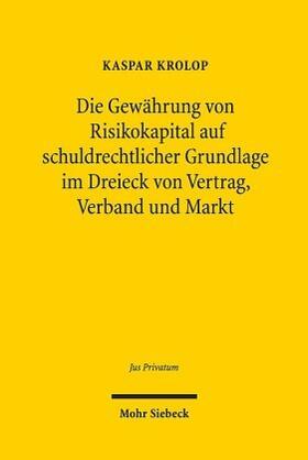 Krolop | Die Gewährung von Risikokapital auf schuldrechtlicher Grundlage im Dreieck von Vertrag, Verband und Markt | Buch | Sack Fachmedien