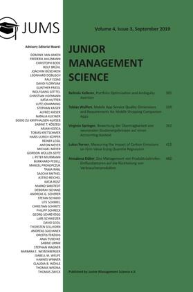 Junior Management Science, Volume 4, Issue 3, September 2019 | Buch | sack.de
