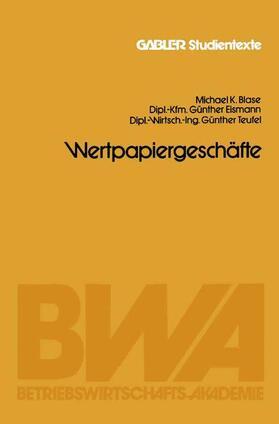 Blase / Eismann / Teufel | Wertpapiergeschäfte | Buch | sack.de
