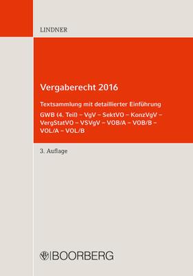 Lindner   Vergaberecht 2016; .   Buch   sack.de