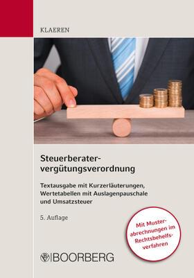 Klaeren | Steuerberatervergütungsverordnung | Buch | sack.de