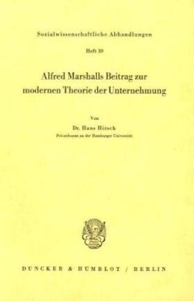 Hirsch | Alfred Marshalls Beitrag zur modernen Theorie der Unternehmung. | Buch | sack.de