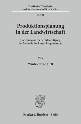 Urff | Produktionsplanung in der Landwirtschaft | Buch | sack.de