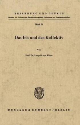 Wiese | Das Ich und das Kollektiv. | Buch | Sack Fachmedien