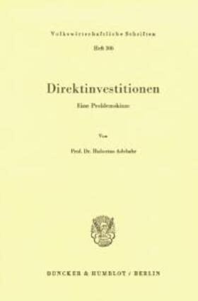 Adebahr | Direktinvestitionen. | Buch | sack.de