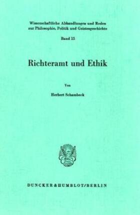 Schambeck   Richteramt und Ethik.   Buch   Sack Fachmedien