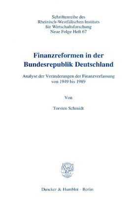 Schmidt | Finanzreformen in der Bundesrepublik Deutschland. | Buch | sack.de