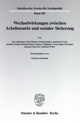 Schmähl   Wechselwirkungen zwischen Arbeitsmarkt und sozialer Sicherung   Buch   sack.de