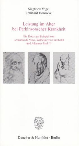 Vogel / Horowski | Leistung im Alter bei Parkinsonscher Krankheit. | Buch | sack.de