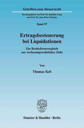 Keß | Ertragsbesteuerung bei Liquidationen. | Buch