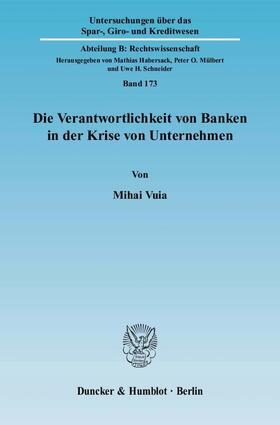 Vuia   Die Verantwortlichkeit von Banken in der Krise von Unternehmen   Buch   sack.de