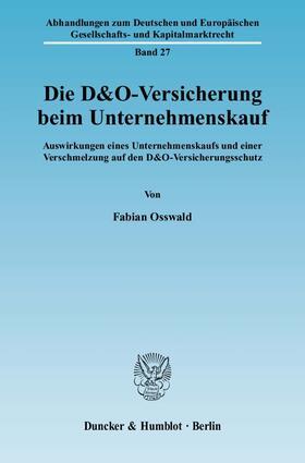 Osswald   Die D&O-Versicherung beim Unternehmenskauf   Buch   sack.de
