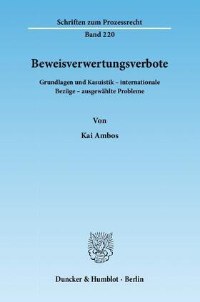 Ambos | Beweisverwertungsverbote | Buch | sack.de