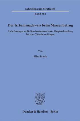 Frank   Der Irrtumsnachweis beim Massenbetrug   Buch   sack.de