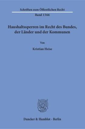 Heise   Haushaltssperren im Recht des Bundes, der Länder und der Kommunen.   Buch   sack.de