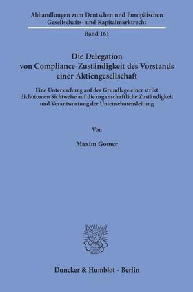 Gomer | Die Delegation von Compliance-Zuständigkeit des Vorstands einer Aktiengesellschaft. | Buch | sack.de