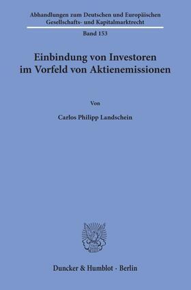 Landschein | Einbindung von Investoren im Vorfeld von Aktienemissionen | Buch | sack.de
