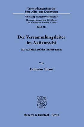 Niemz | Der Versammlungsleiter im Aktienrecht. | Buch | sack.de