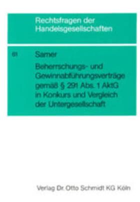 Samer   Beherrschungsverträge und Gewinnabführungsverträge gemäß Paragr. 291 Abs. 1 AktG in Konkurs   Buch   sack.de