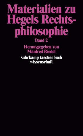 Riedel   Materialien zu Hegels Rechtsphilosophie. Band 2   Buch   sack.de
