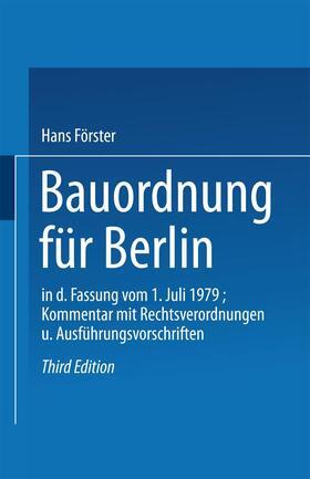 Hans   Bauordnung für Berlin in der Fassung vom 1. Juli 1979   Buch   sack.de