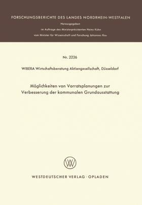 Möglichkeiten von Vorratsplanungen zur Verbesserung der kommunalen Grundausstattung | Buch | sack.de