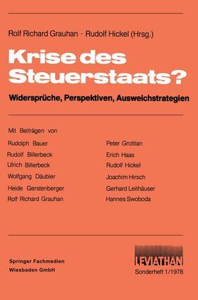 Grauhan / Hickel | Krise des Steuerstaats? | Buch | sack.de