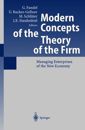 Schlüter / Fandel / Staufenbiel   Modern Concepts of the Theory of the Firm   Buch   sack.de